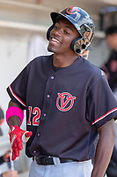 Visalia Rawhide Marcus Wilson (12) in the dugout during the game against the Rancho Cucamonga Quakes at LoanMart Field on May 13, 2018 in Rancho Cucamonga, California. The Quakes defeated the Rawhide 3-2.  (Donn Parris/Four Seam Images)