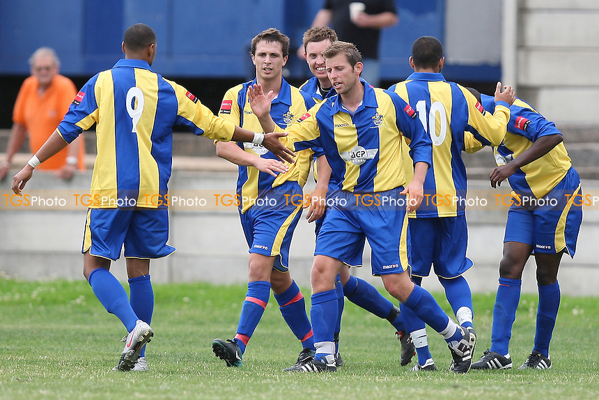 Romford celebrate their opening goal - Romford vs Cheshunt - Ryman League Division One North Football at Mill Field, Aveley FC - 21/08/10 - MANDATORY CREDIT: TGSPHOTO - SELF-BILLING APPLIES WHERE APPROPRIATE. NO UNPAID USE. TEL: 0845 094 6026