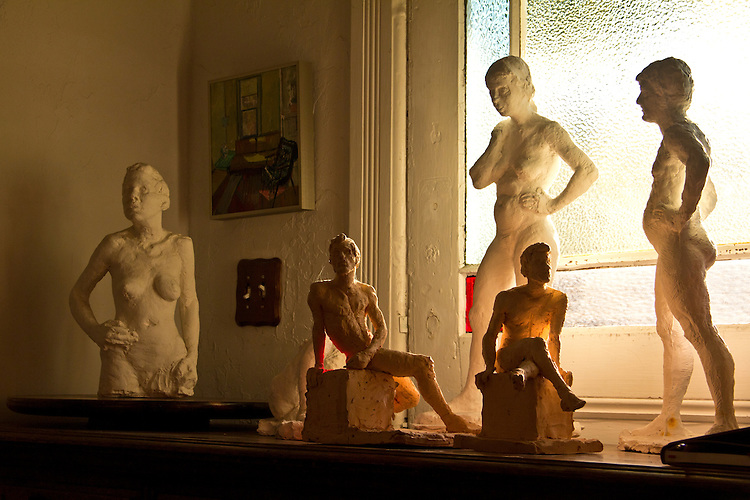 Port Townsend, Gallery Andrew Martin, nude figuresm sculptures, An art museum devoted to the mid-20th century artist Andrew Martin, housed in an 1889 Victorian mansion in Port Townsend's Uptown neighborhood, Jefferson County, Olympic Peninsula, Washington State,