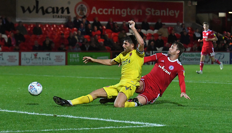 Fleetwood Town's Ched Evans battles for the ball <br /> <br /> Photographer Dave Howarth/CameraSport<br /> <br /> EFL Leasing.com Trophy - Northern Section - Group B - Tuesday 3rd September 2019 - Accrington Stanley v Fleetwood Town - Crown Ground - Accrington<br />  <br /> World Copyright © 2019 CameraSport. All rights reserved. 43 Linden Ave. Countesthorpe. Leicester. England. LE8 5PG - Tel: +44 (0) 116 277 4147 - admin@camerasport.com - www.camerasport.com