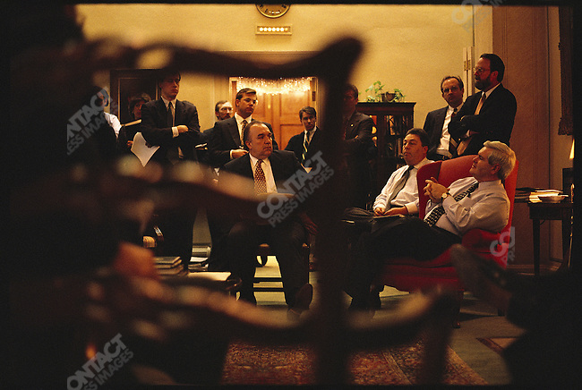 Newt Gingrich (R-GA) & Republican leaders meet in Bob Dole's office on budget policy before White House meeting, Washington D.C., January 1996