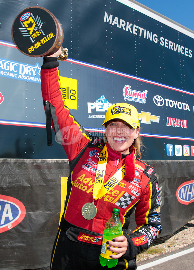 Apr 14, 2019; Baytown, TX, USA; NHRA top fuel driver Brittany Force celebrates after winning the Springnationals at Houston Raceway Park. Mandatory Credit: Mark J. Rebilas-USA TODAY Sports