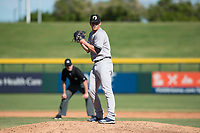 Glendale Desert Dogs relief pitcher Hobie Harris (41), of the New York Yankees organization, gets ready to deliver a pitch during an Arizona Fall League game against the Mesa Solar Sox at Sloan Park on October 27, 2018 in Mesa, Arizona. Glendale defeated Mesa 7-6. (Zachary Lucy/Four Seam Images)