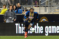 Raymon Gaddis (28) of the Philadelphia Union. The Houston Dynamo defeated the Philadelphia Union 1-0 during a Major League Soccer (MLS) match at PPL Park in Chester, PA, on September 14, 2013.