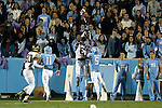 17 October 2015: Wake Forest's Tabari Hines (6) catches a touchdown pass over UNC's Brian Walker (5). The University of North Carolina Tar Heels hosted the Wake Foresst University Demon Deacons at Kenan Memorial Stadium in Chapel Hill, North Carolina in a 2015 NCAA Division I College Football game. UNC won the game 50-14.