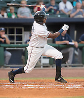 NWA Democrat-Gazette/J.T. WAMPLER Jorge Bonifacio watches as the ball heads over the wall for a fourth inning home run Thursday Aug. 13, 2015 during the Naturals game against the San Antonio Missions at Arvest Ballpark in Springdale.