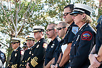Firefighters from all over Nevcada look on as the names of Engineer William Lingelbach of the North Lake Tahoe Fire District, and Pilot David Jamsa of the Bureau of Land Management,  are added to the names of firefighters who died in the line of duty.  The annual induction ceremony at the Nevada Firefighters' Memorial.  The ceremony took place on October 9, 2010 in Carson City Nev.
