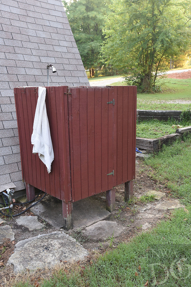 NWA Democrat-Gazette/FLIP PUTTHOFF <br />An outdoor shower is easy to build      July 20 2018   and a refreshing way to cool off on a hot day.