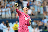 Jimmy  Nielsen goalkeeper Sporting KC celebrates KC's equalizing goal..Sporting Kansas City and Houston Dynamo played to a 1-1 tie at Sporting Park, Kansas City, Kansas.