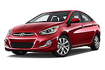 Stock pictures of low aggressive front three quarter view of a 2015 Hyundai Accent GLS 4-Door 6-Speed Automatic 2 Door Sedan Low Aggressive