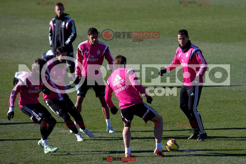 Kehedira, Coentrao, Bale and Cristiano Ronaldo during a sesion training at Real Madrid City in Madrid. January 23, 2015. (ALTERPHOTOS/Caro Marin) /NortePhoto<br /> NortePhoto.com