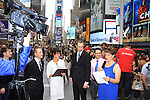 Eric (L) and Kayla and Damon Jacobs (R) with As The World Turns' Colleen Zenk is ordained Universal Life Church minister who officiated the wedding of We Love Soaps Kevin Mulcahy Jr and Roger Newcomb on August 18, 2012 in Times Square, New York City, New York. (Photos by Sue Coflin/Max Photos)