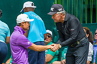 Haotong Li (CHN) and Gary Player (RSA) during the first round at the Nedbank Golf Challenge hosted by Gary Player,  Gary Player country Club, Sun City, Rustenburg, South Africa. 14/11/2019 <br /> Picture: Golffile | Tyrone Winfield<br /> <br /> <br /> All photo usage must carry mandatory copyright credit (© Golffile | Tyrone Winfield)