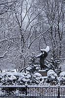 statue in Public Garden Snow, Boston, MA (D C French = sculptor)
