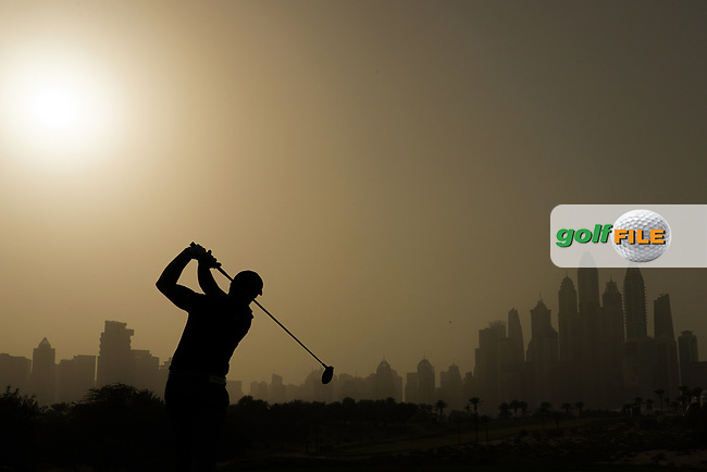 Paul Dunne (IRL) in action during the first round of the Omega Dubai Desert Classic, Emirates Golf Club, Dubai, UAE. 24/01/2019<br /> Picture: Golffile | Phil Inglis<br /> <br /> <br /> All photo usage must carry mandatory copyright credit (© Golffile | Phil Inglis)