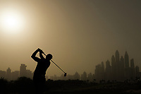 Paul Dunne (IRL) in action during the first round of the Omega Dubai Desert Classic, Emirates Golf Club, Dubai, UAE. 24/01/2019<br /> Picture: Golffile | Phil Inglis<br /> <br /> <br /> All photo usage must carry mandatory copyright credit (&copy; Golffile | Phil Inglis)