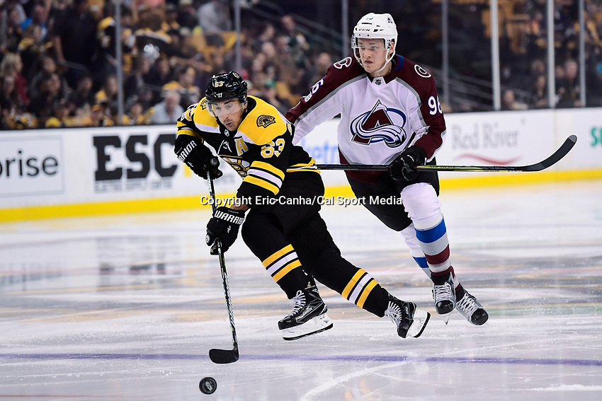 October 9, 2017: Boston Bruins left wing Brad Marchand (63) goes for the puck  during the NHL game between the Colorado Avalanche and the Boston Bruins held at TD Garden, in Boston, Mass. Colorado defeats Boston 4-0. Eric Canha/CSM