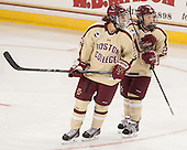 Andie Anastos (BC - 23), Kate Leary (BC - 28) - The Boston College Eagles defeated the visiting University of Maine Black Bears 5 to 1 on Sunday, October 6, 2013, in their Hockey East season opener at Kelley Rink in Conte Forum in Chestnut Hill, Massachusetts.