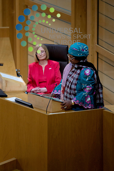 Holyrood's Presiding Officer Tricia Marwick MSP is to undergo surgery this week to remove an obstruction from her bowel. Seen here with Malawi president Joyce Banda during an official state visit to the Scottish Parliament, coinciding with David Livingstone's birthday anniversary...Pictured: Tricia Marwick (left), Joyce Banda (right)...Malcolm McCurrach (Universal News and Sport) - 19/03/2013
