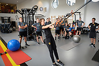 20170608 – TUBIZE , BELGIUM : illustration picture shows Belgian Physio Fabienne Van De Steene during a fitness and physical session at the fitnessroom of the Belgian national women's soccer team Red Flames trainingscamp to prepare for the Women's Euro 2017 in the Netherlands, on Thursday 8 June 2017 in Tubize.  PHOTO SPORTPIX.BE | DAVID CATRY
