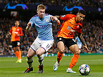 Kevin De Bruyne of Manchester City challenges Dodo of Shakhtar Donetsk during the UEFA Champions League match at the Etihad Stadium, Manchester. Picture date: 26th November 2019. Picture credit should read: Darren Staples/Sportimage