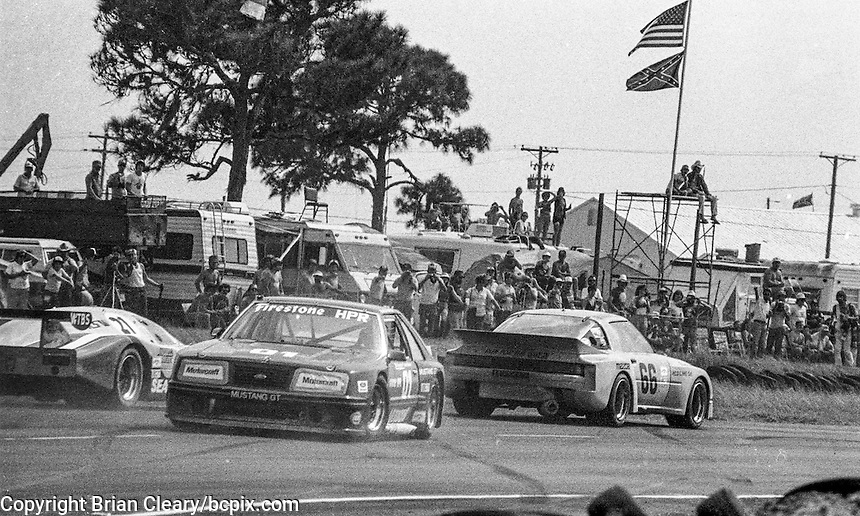 The #01 Ford Mustang of John Morton and Tom Klausler  (9th place) spins in traffic, 12 Hours or Sebring, Sebring International Raceway, Sebring, FL, March 19, 1983.  (Photo by Brian Cleary/bcpix.com)