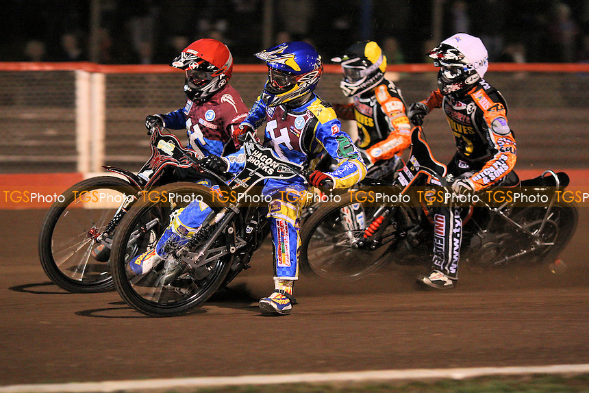 Heat 3: Adam Shields (red), Jonas Davidsson (blue), Ty Proctor (white) and Tai Woffinden - Lakeside Hammers vs Wolverhampton Wolves - Elite League Speedway at Arena Essex Raceway - 01/04/11 - MANDATORY CREDIT: Gavin Ellis/TGSPHOTO - Self billing applies where appropriate - Tel: 0845 094 6026