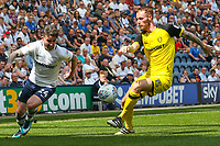 Preston North End's Sean Maguire takes on Burton Albion's Tom Naylor<br /> <br /> Photographer Alex Dodd/CameraSport<br /> <br /> The EFL Sky Bet Championship - Preston North End v Burton Albion - Sunday 6th May 2018 - Deepdale Stadium - Preston<br /> <br /> World Copyright &copy; 2018 CameraSport. All rights reserved. 43 Linden Ave. Countesthorpe. Leicester. England. LE8 5PG - Tel: +44 (0) 116 277 4147 - admin@camerasport.com - www.camerasport.com
