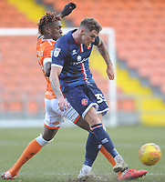 Walsall's Dan Scarr under pressure from Blackpool's Armand Gnanduillet<br /> <br /> Photographer Kevin Barnes/CameraSport<br /> <br /> The EFL Sky Bet League One - Blackpool v Walsall - Saturday 9th February 2019 - Bloomfield Road - Blackpool<br /> <br /> World Copyright © 2019 CameraSport. All rights reserved. 43 Linden Ave. Countesthorpe. Leicester. England. LE8 5PG - Tel: +44 (0) 116 277 4147 - admin@camerasport.com - www.camerasport.com