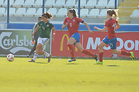 20190306 - LARNACA , CYPRUS : Mexican defender Rebeca Bernal (4) , Czech forward Lucie Vonkova (9) , Czech midfielder Kamila Dubcova (11) pictured during a women's soccer game between Czech Republic and Mexico , on Wednesday 6 March 2019  at the Antonis Papadopoulos Stadium in Larnaca , Cyprus . . This last game for both teams which decides for places 5 and 6 of the Cyprus Womens Cup 2019 , a prestigious women soccer tournament as a preparation on the Uefa Women's Euro 2021 qualification duels. PHOTO SPORTPIX.BE | STIJN AUDOOREN