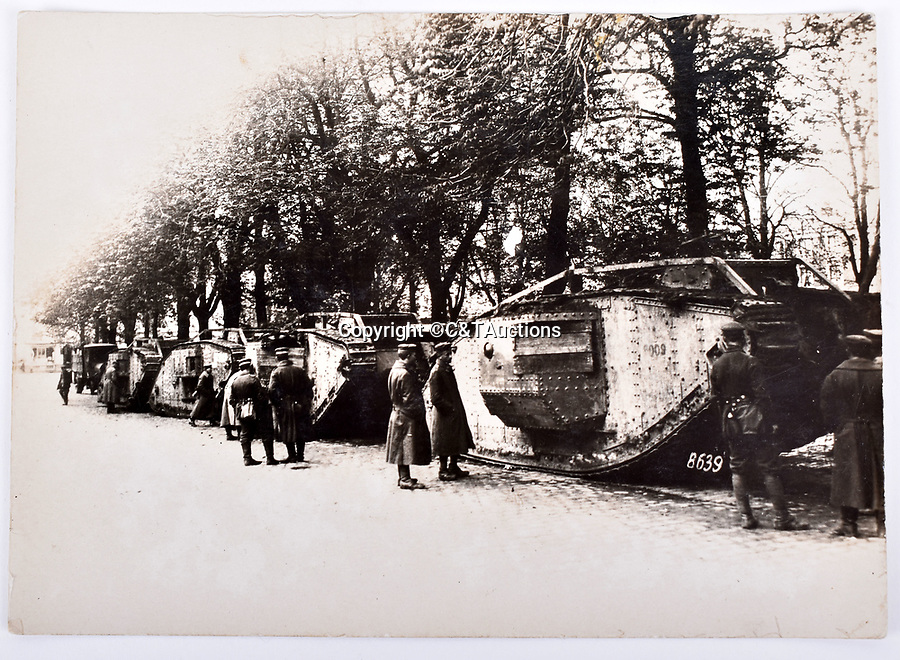 Bmth News (01202 558833)<br /> Picture:  C&TAuctions/BNPS<br /> <br /> Captured tanks, probably in spring 1918. The wooden planks are fitted across the sponsons to prevent access as captured vehicles were frequently stripped for souvenirs.<br /> <br /> Remarkable photographs revealing how the Germans used captured British tanks against us because theirs were no good have come to light over 100 years later.<br /> <br /> The British were the first to invent the tank in 1916 and a year later used them to overwhelm the enemy at the Battle of Cambrai in the First World War.<br /> <br /> Although the battle was a success for the British, the Germans captured several Mark IV tanks.<br /> <br /> Now black and white photos have emerged to show the German high command inspecting one the hulking machines in Berlin in 1918.<br /> <br /> Other pictures in the album depicts the early days of aerial warfare when hand grenades were dropped over the side of the cockpits by German pilots.