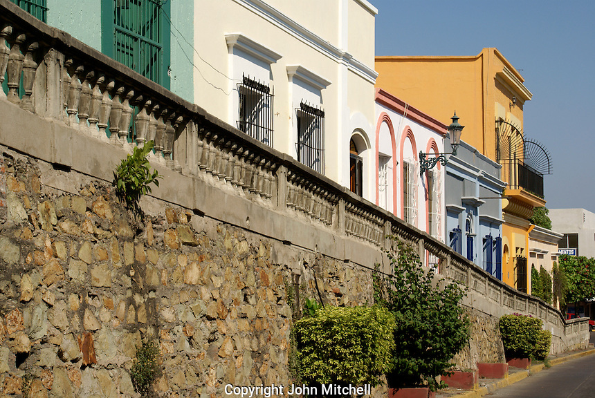 Restored nineteenth century houses on Angel Flores Street  in old Mazatlan, Sinaloa, Mexico
