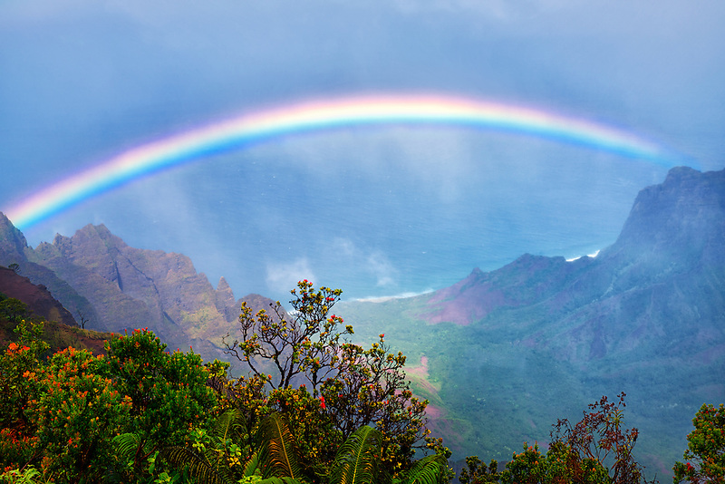 Rainbow as seen from Kalalau Lookout. Waimea Canyon. Kauai, Hawaii,ocean,oceans,oceanic,sea,seas,seascape,<br /> seascapes,beach,beaches,coast,surf,<br /> coastline,coastlines,coast line,coast lines,coastal,shore,shores,shoreline,shorelines,<br /> shore line,shore lines,beachshore,seashore,<br /> sea shore,body of water,seaside,waterfront,coastal region