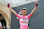 Race leader Maglia Rosa Valerio Conti (ITA) UAE Team Emirates at sign on before Stage 10 of the 2019 Giro d'Italia, running 145km from Ravenna to Modena, Italy. 21st May 2019<br /> Picture: Massimo Paolone/LaPresse | Cyclefile<br /> <br /> All photos usage must carry mandatory copyright credit (© Cyclefile | Massimo Paolone/LaPresse)