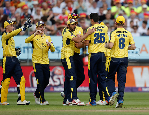 2nd September 2017, Edgbaston, Birmingham, England; Natwest T20 Blast Finals Day, Notts Outlaws versus Hampshire; Another early wicket for Hampshire as Tom Moores is out for a duck off the bowling of Chris Wood