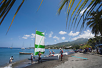 """France/DOM/Martinique/ Saint-Pierre: Course de Yoles lors de  la fête des """"Voiles traditionelles de la Caraïbe et Vieux Grément"""""""
