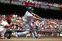 SAN FRANCISCO, CA - JUNE 27:  Juan Rivera #21 of the Los Angeles Dodgers bats against the San Francisco Giants during the game at AT&T Park on Wednesday, June 27, 2012 in San Francisco, California. Photo by Brad Mangin