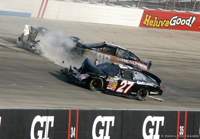 A huge crash involving Elliot Sadler and Drew Herring during a NASCAR Nationwide series Dover 200 auto race, Saturday, Sept. 25, 2010, at Dover International Speedway in Dover, Del.