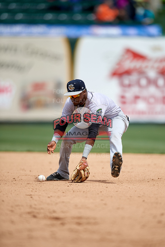 Kane County Cougars second baseman Luis Alejandro Basabe (1) fields a ground ball during a game against the South Bend Cubs on May 3, 2017 at Four Winds Field in South Bend, Indiana.  South Bend defeated Kane County 6-2.  (Mike Janes/Four Seam Images)