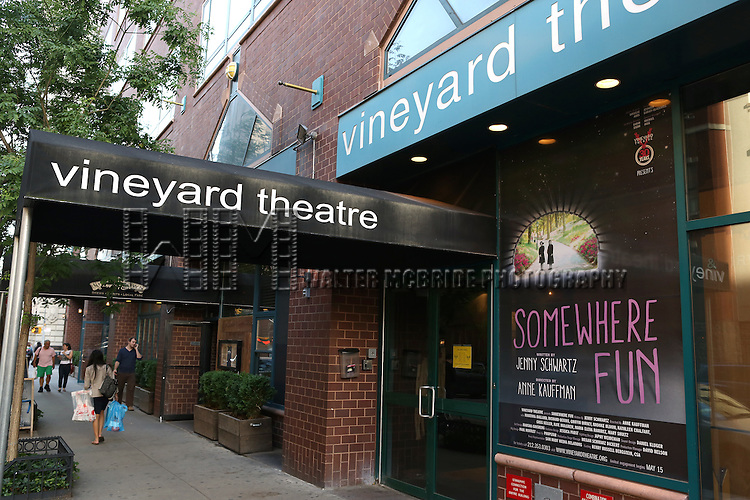 Theatre Marquee for the Opening Night Curtain Call for the Vineyard Theatre Production of 'Somewhere Fun' at the Vineyard Theatre in New York City on June 04, 2013.