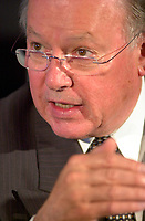 Quebec Premier Bernard Landry answers a question during a press conference June 2nd 2001, in Montreal, CANADA.<br /> He announced that Quebec will soon be producing more hydro-electricity that will be exported to the United States to might the growing US demand for electrical power.<br /> Photo by Pierre Roussel /