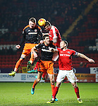 Charlton's Patrick Bauer tussles with Sheffield United's Caolan Lavery and Chris Basham during the League One match at the Valley Stadium, London. Picture date: November 26th, 2016. Pic David Klein/Sportimage