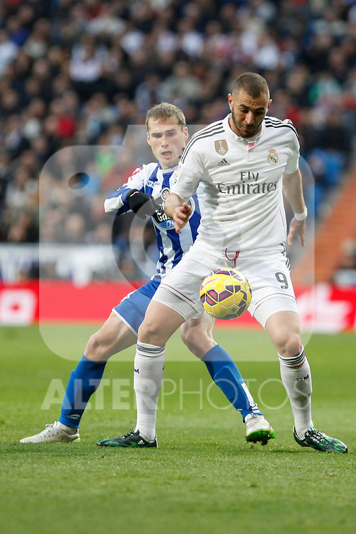Real Madrid´s Karim Benzema and Deportivo de la Courna´s Alex during La Liga match at Santiago Bernabeu stadium in Madrid, Spain. February 14, 2015. (ALTERPHOTOS/Victor Blanco)