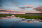 Idaho, South Central, Camas County, Fairfield. Evening cloud reflections in the Centennial Marsh in spring.