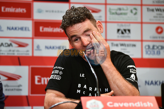 Mark Cavendish (GBR) Bahrain–McLaren at the Top Riders press conference for the UAE Tour 2020 held at<br /> Westin Dubai Mina Seyahi, Dubai. 22nd February 2020.<br /> Picture: LaPresse/Massimo Paolone | Cyclefile<br /> <br /> All photos usage must carry mandatory copyright credit (© Cyclefile | LaPresse/Massimo Paolone)