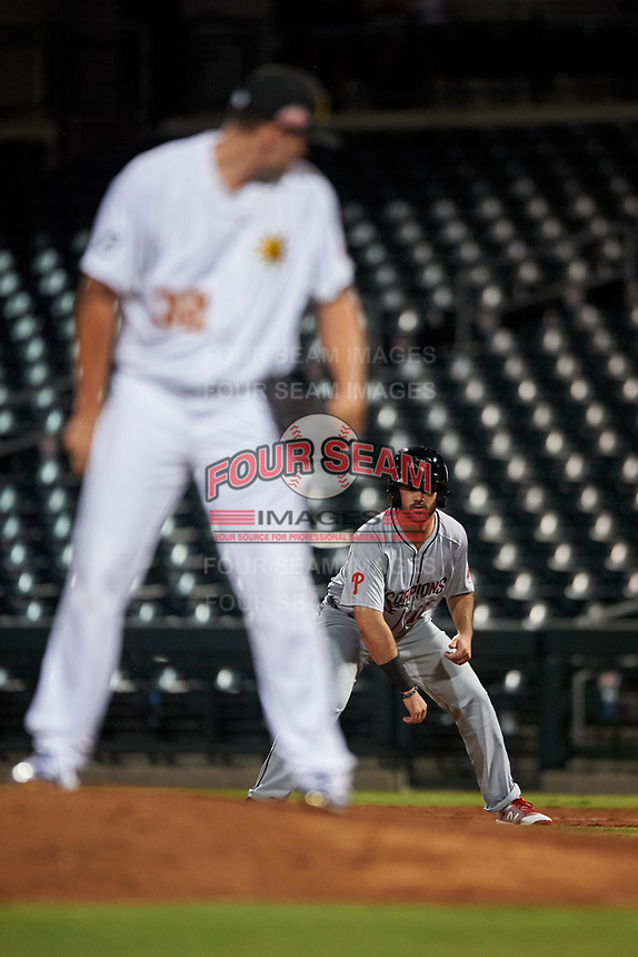 Scottsdale Scorpions pinch runner Josh Stephen (17), of the Philadelphia Phillies organization, leads off first base during an Arizona Fall League game against the Mesa Solar Sox on September 18, 2019 at Sloan Park in Mesa, Arizona. Scottsdale defeated Mesa 5-4. (Zachary Lucy/Four Seam Images)
