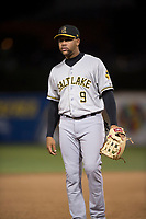 Salt Lake Bees third baseman Jose Miguel Fernandez (9) during a Pacific Coast League game against the Fresno Grizzlies at Chukchansi Park on May 14, 2018 in Fresno, California. Fresno defeated Salt Lake 4-3. (Zachary Lucy/Four Seam Images)