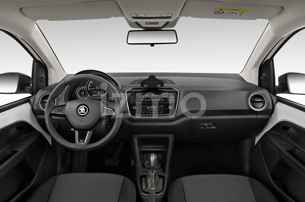 Stock photo of straight dashboard view of a 2020 Skoda Citigo e iV Ambition 5 Door Hatchback