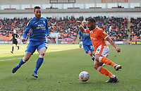 Blackpool's Liam Feeney under pressure from Peterborough United's Jason Naismith<br /> <br /> Photographer Kevin Barnes/CameraSport<br /> <br /> The EFL Sky Bet League One - Blackpool v Peterborough United - Saturday 13th April 2019 - Bloomfield Road - Blackpool<br /> <br /> World Copyright &copy; 2019 CameraSport. All rights reserved. 43 Linden Ave. Countesthorpe. Leicester. England. LE8 5PG - Tel: +44 (0) 116 277 4147 - admin@camerasport.com - www.camerasport.com