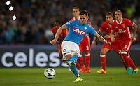 Calcio, Champions League Gruppo B: Napoli vs Benfica. Napoli, stadio San Paolo, 28 settembre 2016. <br /> Napoli's Arkadiusz Milik scores on a penalty kick during the Champions League Group B soccer match between Napoli and Benfica at the Naples' San Paolo stadium, 28 September 2016. Napoli won 4-2.<br /> UPDATE IMAGES PRESS/Isabella Bonotto